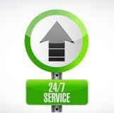 24-7 concept de signe de voie de service Photo libre de droits