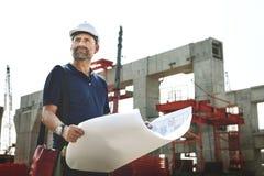 Concept de site d'Outdoors Working Construction d'architecte photos stock