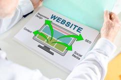 Concept de site Web sur un papier images stock