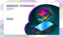concept de smartphone de l'affichage 3D-enabled Technologie isométrique stéréoscopique d'innovation des affaires 3D Couleur vibra illustration libre de droits