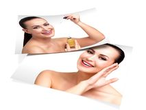 Concept de soin de peau Deux images de jolie fille illustration stock