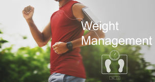 Concept de soins de santé de forme physique d'exercice de gestion de poids Photographie stock