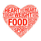 Concept de soins de santé fait avec des mots dessinant comme coeur Photos stock