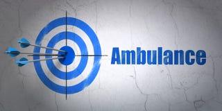 Concept de soins de santé : cible et ambulance sur le fond de mur Photos stock