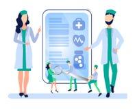 Concept de soins de santé La réunion, un Conseil des médecins, discutent le diagnostic, développent une méthode de traitement illustration stock