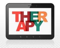 Concept de soins de santé : Ordinateur de PC de Tablette avec la thérapie sur l'affichage Photographie stock