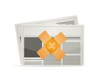 concept de solution de difficulté d'aide de bande de bulletin d'information Photo stock