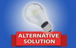 Concept de SOLUTION DE RECHANGE avec la bannière et l'ampoule Image stock