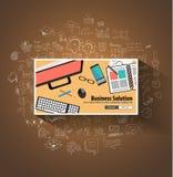 Concept de solutions d'affaires avec le style de conception de griffonnage Photo libre de droits