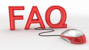 Concept de souris de FAQ et d'ordinateur Photo stock