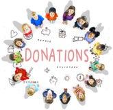 Concept de soutien de base de charité de donations photographie stock libre de droits