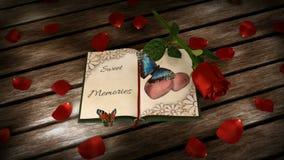 Concept de souvenirs - réservez, rose et animé