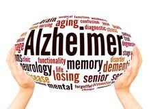 Concept de sphère de main de nuage de mot d'Alzheimer illustration libre de droits
