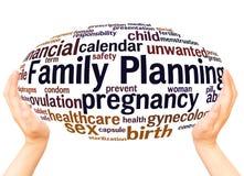Concept de sphère de main de nuage de mot de planification des naissances photo libre de droits