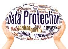 Concept de sphère de main de nuage de mot de protection des données illustration libre de droits