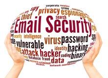 Concept de sphère de main de nuage de mot de sécurité d'email illustration de vecteur