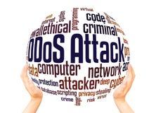 Concept de sphère de nuage de mot d'attaque de DDoS illustration de vecteur