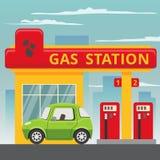 Concept de station service d'essence dans le style plat de conception illustration libre de droits