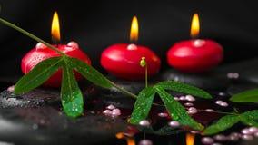 concept de station thermale de branche de passiflore, de perles de perle et de bougies rouges Photos stock