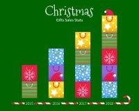 Concept de statistiques de vente de Noël - le cadeau coloré met en sac le diagramme illustration libre de droits