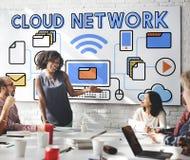 Concept de stockage des informations sur les données de connexion réseau de nuage Photos libres de droits