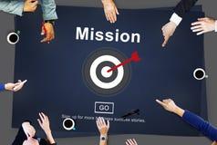 Concept de stratégie de motivation d'aspirations de cible de buts de mission photos stock