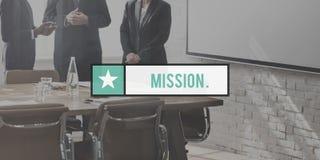 Concept de stratégie de motivation d'aspirations de cible de buts de mission image libre de droits