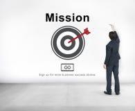 Concept de stratégie de motivation d'aspirations de cible de buts de mission photo stock