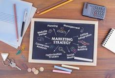 Concept de stratégie marketing Diagramme avec des mots-clés et des icônes sur un tableau noir Photos stock