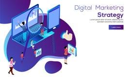 Concept de stratégie marketing de Digital, analyse miniature DA de personnes Illustration Libre de Droits