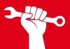 Concept de strijd van de wereldarbeider om sociale uitkeringen met een opgeheven vuist te krijgen vector illustratie