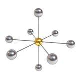 concept de structure de réseau 3d avec la sphère d'or au centre d'isolement sur le blanc Images libres de droits