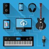 Concept de studio d'enregistrement de musique Conception plate Photographie stock libre de droits