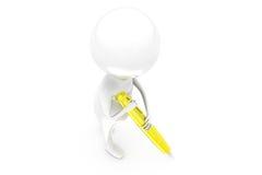 concept de stylo de l'homme 3d Photographie stock libre de droits