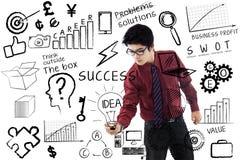 Concept de succès d'écriture d'homme d'affaires Photographie stock