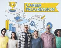 Concept de succès d'accomplissement de promotion de progression de carrière Images stock