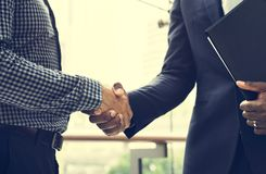 Concept de succès de collaboration de poignée de main d'affaires image libre de droits