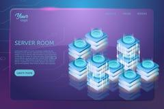 Concept de support de pièce de serveur Accueil de Web et illustration isométrique de vecteur de centre de traitement des données Photos stock