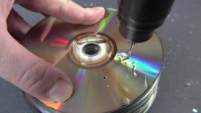 Concept de supprimer de grandes donn?es en forant un trou dans le DVD RAM clips vidéos