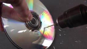 Concept de supprimer de grandes donn?es en forant un trou dans le DVD RAM banque de vidéos