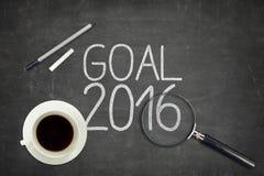Concept 2016 de but sur le tableau noir noir avec vide Image stock