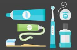 Concept de système de santé d'outil de colle de soins de santé de couleur chimique plate de dentiste et hygiène médicaux de pâte  Photo stock