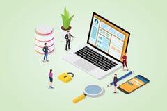 Concept de système de gestion de contenu de CMS avec la page d'ordinateur portable et de site Web avec l'ouverture sûre sur le sm illustration stock