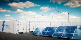 Concept de système industriel de stockage de l'énergie illustration stock