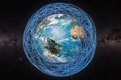 Concept de télécommunication mondiale, globe et lignes rougeoyantes arou de la terre illustration libre de droits