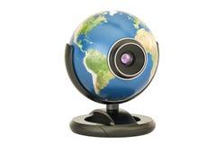 Concept de télécommunication mondiale, webcam de globe de la terre rendu 3d illustration libre de droits