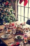 Concept de Tableau de dîner de famille de Noël photo libre de droits