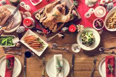 Concept de Tableau de dîner de famille de Noël images libres de droits