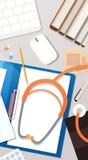 Concept de Tableau de travailleur d'hôpital de médecin Workplace Top View illustration libre de droits