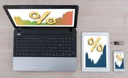 Concept de taux d'intérêt sur différents dispositifs photo stock